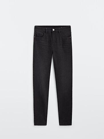 Black mid-waist skinny jeans