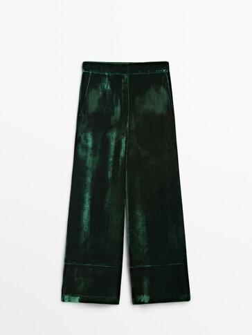 سروال مخمل أخضر