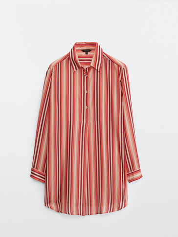 100% silk striped loose-fitting blouse