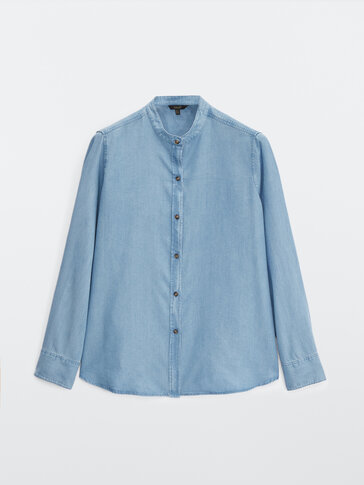 100% lyocell stand-up collar shirt