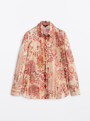 Εμπριμέ πουκάμισο από 100% βαμβάκι