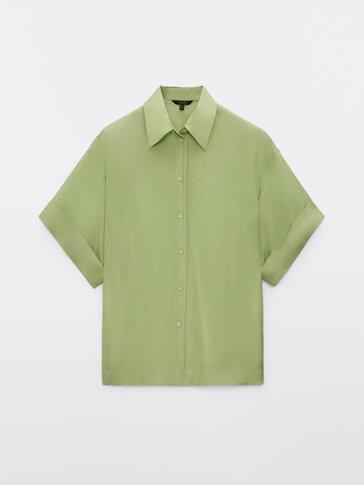 Κοντομάνικo πουκάμισο από 100% μετάξι