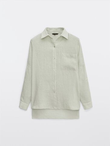 Linen shirt with rolled-up sleeves