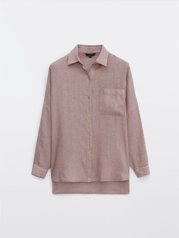 חולצת פשתן עם שרוולים מקופלים