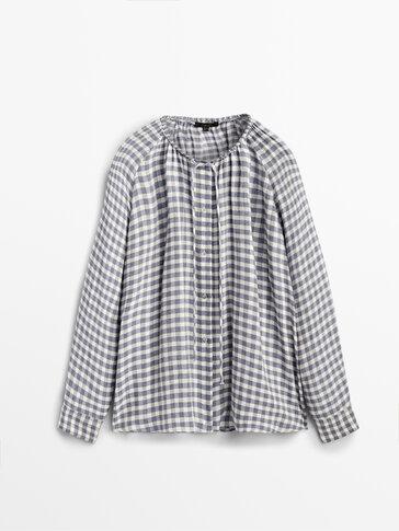 Chemise à carreaux vichy fronce col
