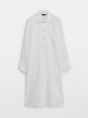 Μακρύ μπλουζόν από 100% λινό