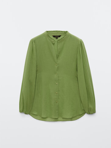 Cotton blouse with collar detail