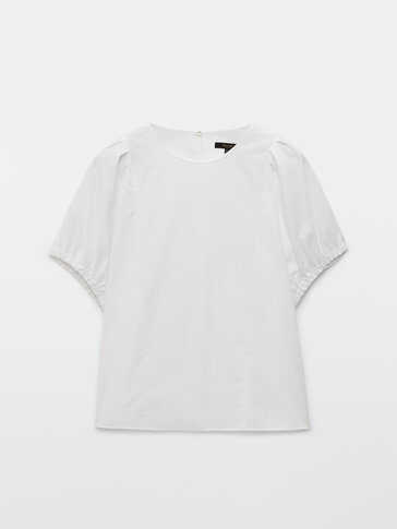 Cotton top with short elastic sleeves