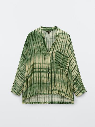 Εμπριμέ βαμβακερό πουκάμισο σε πράσινες αποχρώσεις