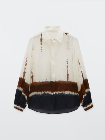 Silk cotton tie-dye shirt