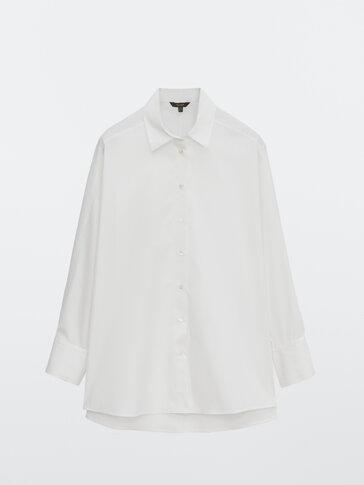 Poplin shirt with darted shoulders