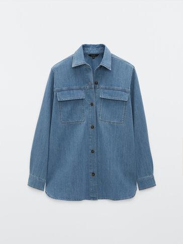 Cotton denim overshirt