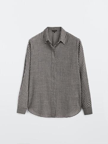 Check cotton and wool shirt