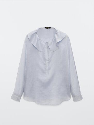 Ριγέ πουκαμίσα από lyocell και μετάξι