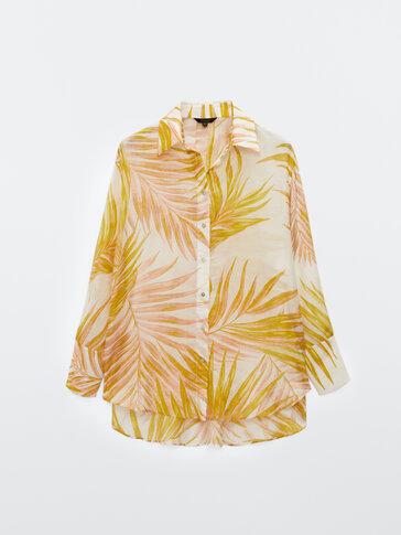 Palm tree print cotton silk shirt