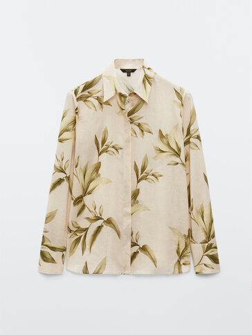 Linen cotton leaf print shirt