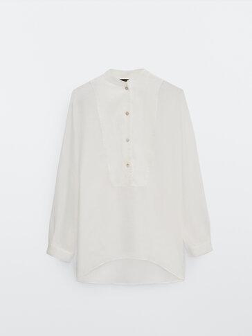 Ramie linen oversize shirt with bib detail
