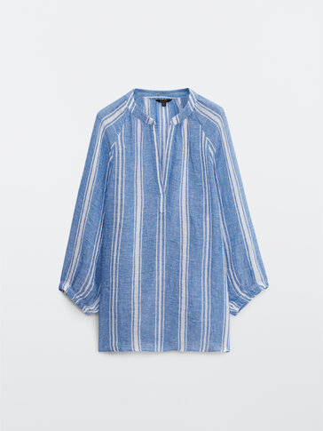 Striped shirt with polo collar