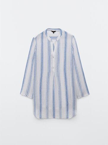 Λινό μπλουζόν με ρίγες