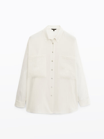 Textured cotton shirt with pockets