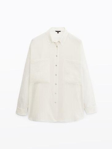 Βαμβακερό πουκάμισο με σαγρέ ύφανση και τσέπες