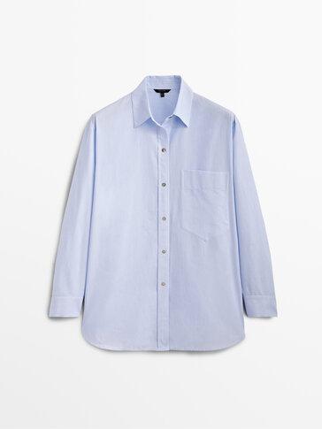 Pinstriped poplin shirt