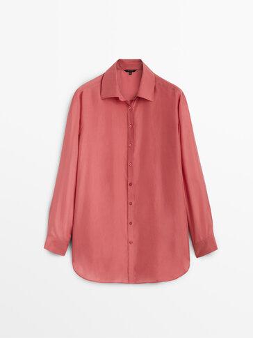 Блуза из 100% шелка с эффектом потертости