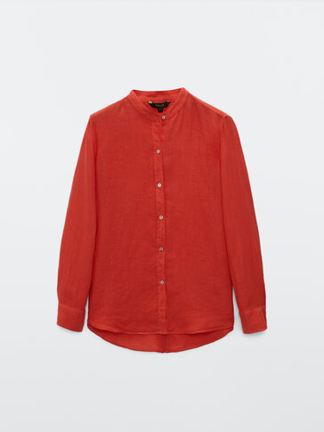 100% linen shirt with stand-up collar