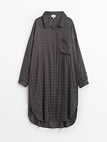 Check jacquard oversize pyjama shirt