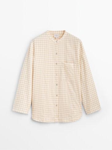 Gingham cotton pyjama shirt
