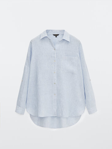 Striped linen shirt with rolled-up sleeves