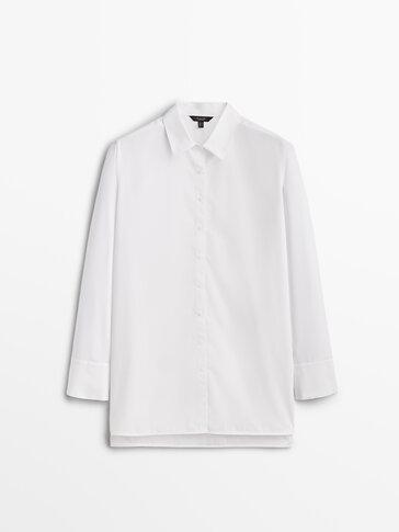 חולצה מבד פופלין כותנה עם חפתים