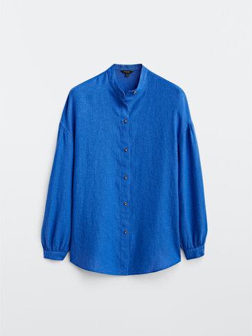 Λινό πουκάμισο με γιακά μάο και φουσκωτό μανίκι