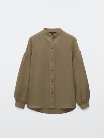 Balloon sleeve linen shirt with stand-up collar
