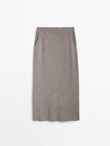 Purl knit wool skirt