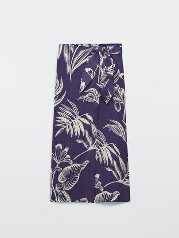 100% linen leaf print skirt