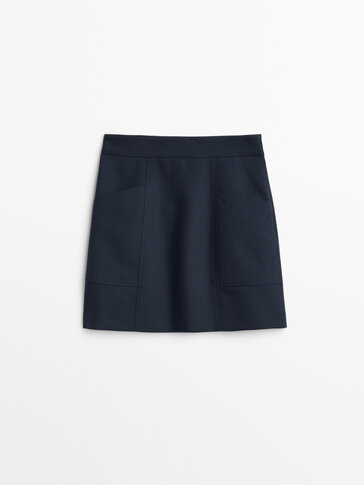 Wool mini skirt with pockets