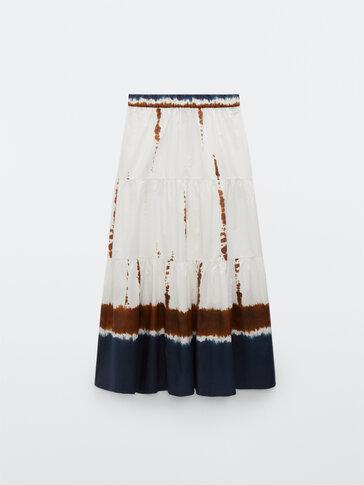 Хлопковая юбка с принтом тай-дай
