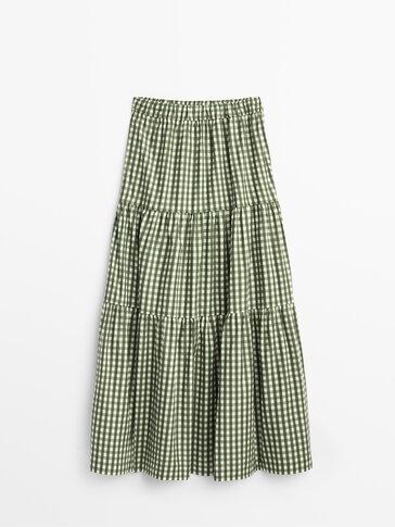 Long gingham skirt