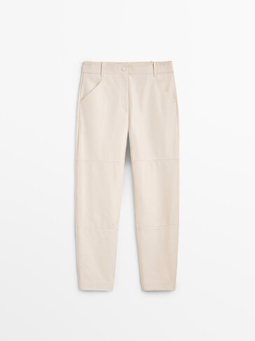 Nappa leather trousers with seam details