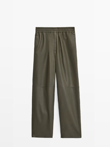 Jogging fit nappa leather trousers