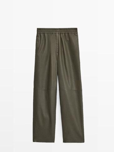 Pantalon en cuir nappa coupe jogging