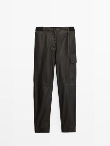 Nappa leather cargo trousers