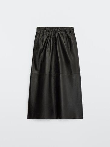 Long nappa leather skirt