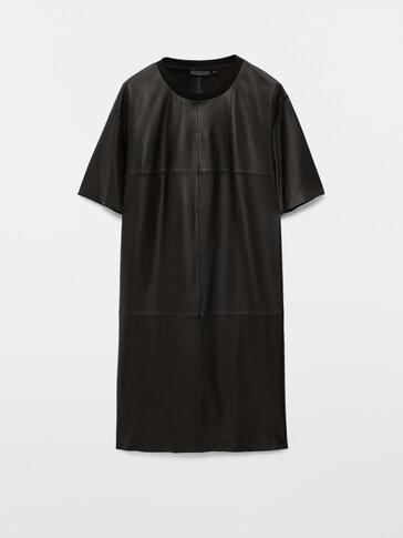 Kurzärmeliges Kleid aus schwarzem Nappaleder