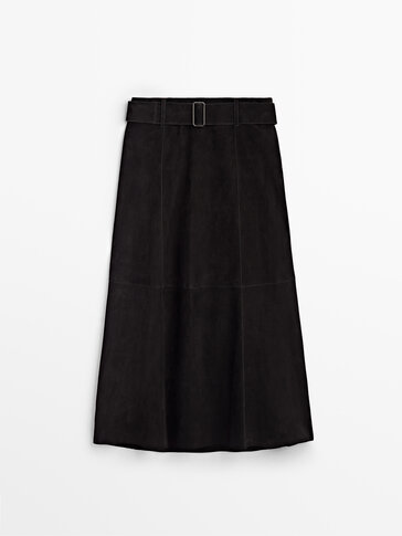 Long black suede skirt Limited Edition