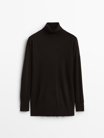 High neck flowing wool sweater