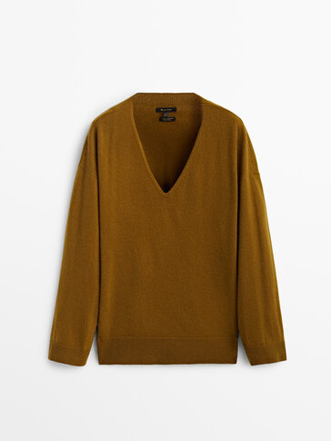 Jersey cuello pico lana cashmere