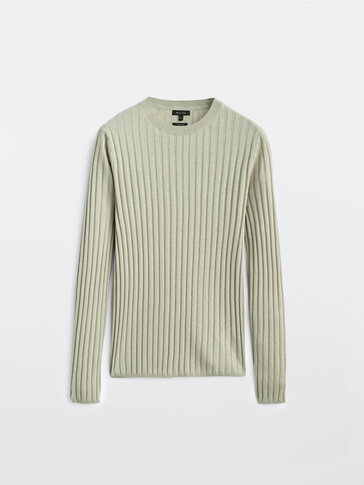 Silk and wool ribbed sweater