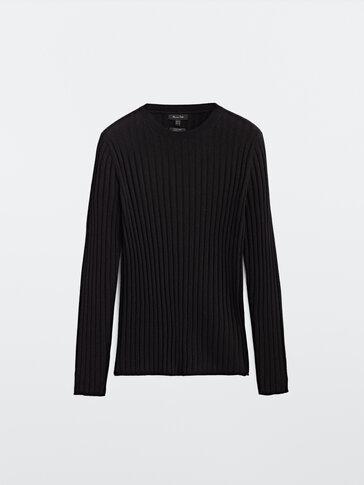 Jersey canalé lana y seda